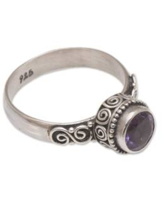 Amethyst Single Stone Ring in Sterling Silver