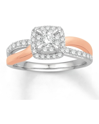 Diamond Engagement Ring 1/2 ct tw Round-cut 14K Two-Tone Gold