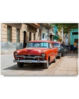 """Trademark Fine Art 'Red Classic Car in Havana' Photographic Print on Wrapped Canvas PH00615-C Size: 22"""" H x 32"""" W"""