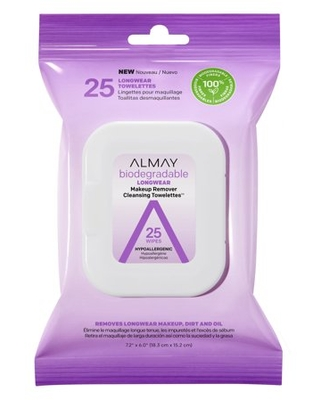 25 Count, Almay Makeup Remover Wipes, Longwear Makeup Biodegradable Cleansing Towelettes, Sensitive Skin, Hypoallergenic, Cruelty Free, Fragrance Free