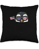 4th Of July Pillows Women Kids Fourth Animal Gifts Penguin Pocket American Flag USA 4th Of July Fourth Animal Throw Pillow, 16x16, Multicolor