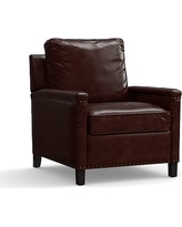 Tyler Leather Recliner with Bronze Nailheads, Polyester Wrapped Cushions, Signature Espresso