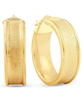 14K Yellow Gold Classic Brushed and Polished 14mm Womens Hoops Earrings