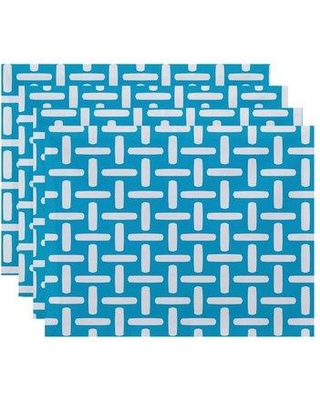 "e by design Geometric Decorative 18"" Placemat PT4GN47 Color: Turquoise"
