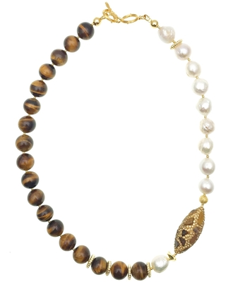 Farra - Freshwater Pearls With Tiger Eyes & Rhinestones Short Necklace