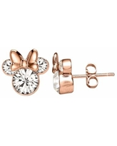 Disney's Minnie Mouse Rose Gold Tone Sterling Silver Crystal Stud Earrings, Girl's, White