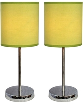 Simple Designs 11.89 in. Chrome Mini Basic Table Lamps with Green Fabric Shades (2-Pack)