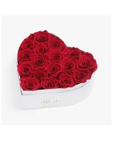 Heart Box of 17 Red Real Roses Preserved to Last Over a Year - Red
