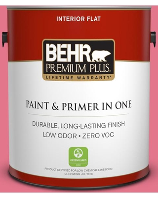 BEHR Premium Plus 1 gal. #120B-6 Watermelon Pink Flat Low Odor Interior Paint and Primer in One