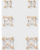 Women's Fashion Trio Crystal Square Stud - A New Day Silver/Gold, Bright Gold