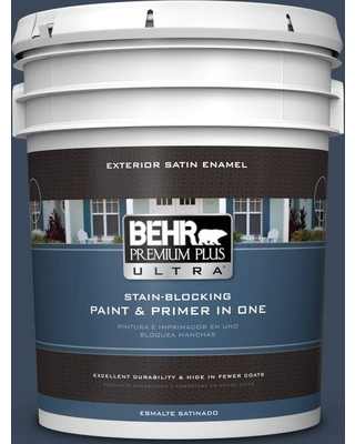 BEHR ULTRA 5 gal. #M500-7 Very Navy Satin Enamel Exterior Paint and Primer in One