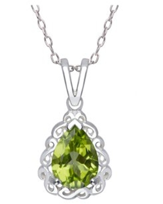 Peridot Pear-Shape with Swirl frame Pendant, 18""