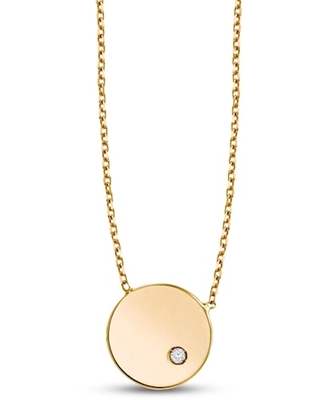 Jared The Galleria Of Jewelry Round Pendant Necklace Diamond Accent 14K Yellow Gold