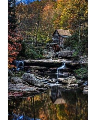 "Millwood Pines 'Glade Creek Grist Mill' Photographic Print on Wrapped Canvas BI080343 Size: 36"" H x 24"" W x 1.5"" D"