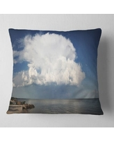 Can T Miss Bargains On Heavy White Cloud Above Sea Contemporary Landscape Printed Pillow East Urban Home Size 16 X 16 Product Type Throw Pillow