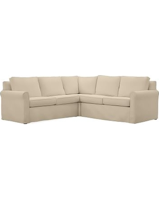 Cameron Roll Arm Slipcovered 3-Piece L-Shaped Corner Sectional, Polyester Wrapped Cushions, Performance Everydayvelvet(TM) Buckwheat