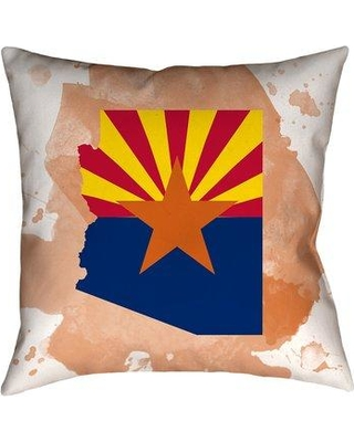 "East Urban Home Arizona Flag in Throw Pillow W000491545 Size: 14"" x 14"" Material/Type: Faux Suede - Indoor"