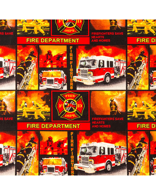 Firefighters Cotton Calico Fabric