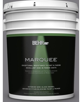 BEHR MARQUEE 5 gal. #BXC-58 Stormy Gray Semi-Gloss Enamel Exterior Paint and Primer in One
