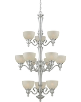 Talista 12-Light Brushed Nickel Chandelier with Umber Linen Glass Shade