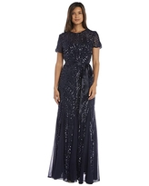 R&M Richards One Piece Short Sleeve Embelished Sequins Gown