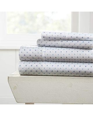Becky Cameron Premium Ultra Soft Lily Pattern 4 Piece Bed Sheet Set, Full, Navy