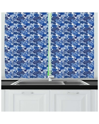 Philodendron Pattern with Tropical Leaves Kitchen Curtain East Urban Home