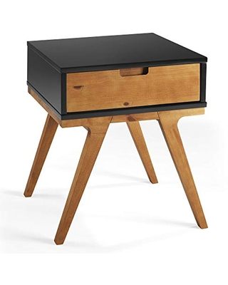Walker Edison Mid Century Modern 1 Drawer Side-Living-Room Small End Accent Table, Black