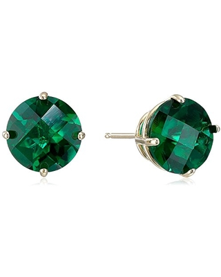 10k Yellow Gold Round Checkerboard Cut Created Emerald Stud Earrings (8mm)