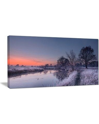 """DesignArt Frosty Fall Morning Panorama Photographic Print on Wrapped Canvas PT11316- Size: 16"""" H x 32"""" W x 1"""" D"""