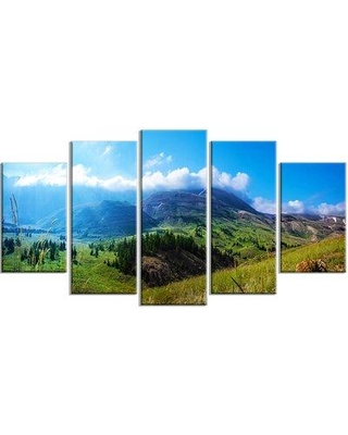 Design Art 'Mountain Landscape Panorama' 5 Piece Photographic Print on Wrapped Canvas Set, Canvas & Fabric in Brown/Green   Wayfair PT14869-373