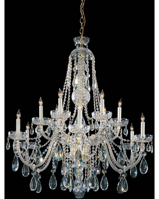 Crystorama Traditional Crystal 12-Light 48 inch Traditional Chandelier in Polished Brass with Clear Spectra Crystals