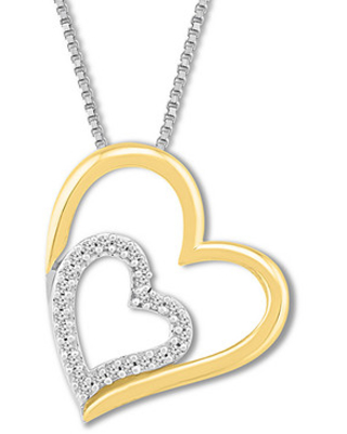 Diamond Heart Necklace 1/15 ct tw Sterling Silver/10K Gold