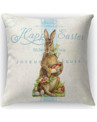 "Kavka Easter Bunny with Easter Eggs Throw Pillow FPL-FBS16-16X16-TEL8213 / FPL-FBS18-18X18-TEL8213 Size: 18"" H x 18"" W x 4"" D"