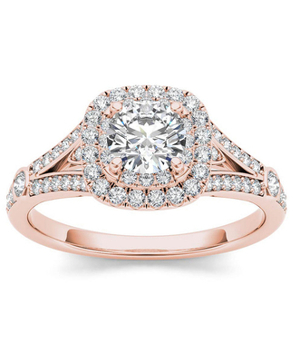1 CT. T.W. Round White Diamond 14K Gold Engagement Ring, 8 , No Color Family