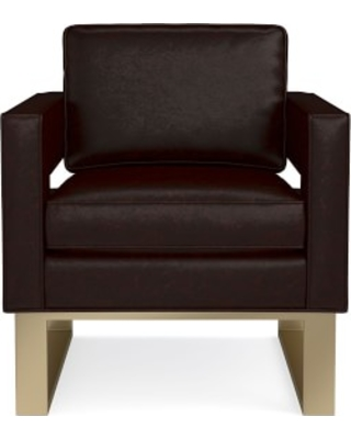 Minato Occasional Chair, Italian Distressed Leather, Truffle, Antique Brass