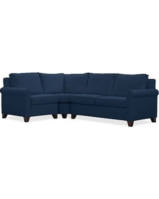 Cameron Roll Arm Upholstered Right Arm 3-Piece Wedge Sectional, Polyester Wrapped Cushions, Performance Everydayvelvet(TM) Navy