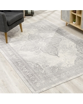 "Rug Branch Havana Vintage Traditional Distressed Faded Area Rug, Grey (5'3"" x 7'7"")"