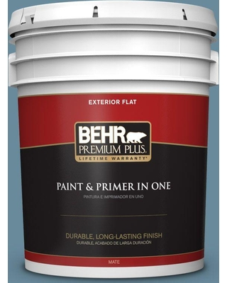 BEHR Premium Plus 5 gal. #bic-22 Relaxed Blue Flat Exterior Paint and Primer in One