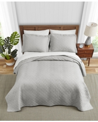 Tommy Bahama Solid Pelican Grey Reversible 3-Piece King Quilt Set Bedding