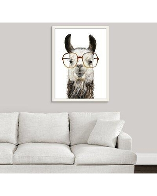 "Novogratz Novogratz 'Calculating Llama II' Framed Painting Print, Format: White Framed, Paper in Brown/White, Size 39"" H x 30"" W x 1"" D 