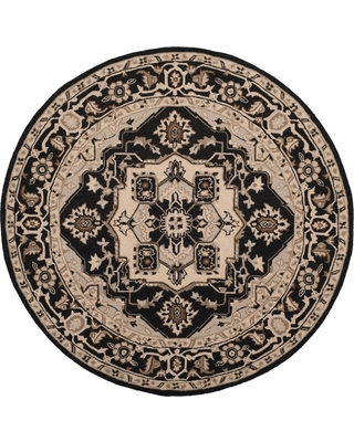 Safavieh Chelsea Black/Natural 5 ft. 6 in. X 5 ft. 6 in. Round Area Rug