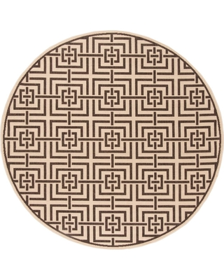 Safavieh Linden Cream/Brown (Ivory/Brown) 6 ft. 7 in. X 6 ft. 7 in. Round Area Rug