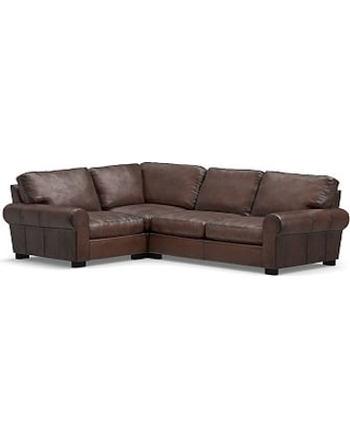 Turner Roll Arm Leather Right Arm 3-Piece Corner Sectional, Down Blend Wrapped Cushions, Burnished Walnut