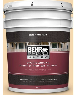 BEHR Premium Plus Ultra 5 gal. #330C-3 Clam Chowder Flat Exterior Paint and Primer in One