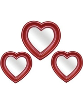 Harriet Bee 3 Piece Heart Mirror Set HBEE1079 Finish: Red