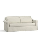 """York Roll Arm Slipcovered Deep Seat Sofa 84"""" with Bench Cushion, Down Blend Wrapped Cushions, Premium Performance Basketweave Pebble"""