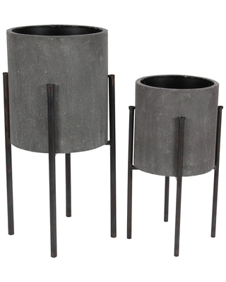 Set of 2 Industrial Iron Planters with Stand - Olivia & May
