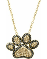 Artistique 18k Gold Over Silver Crystal Paw Print Pendant Necklace, Women's, Yellow