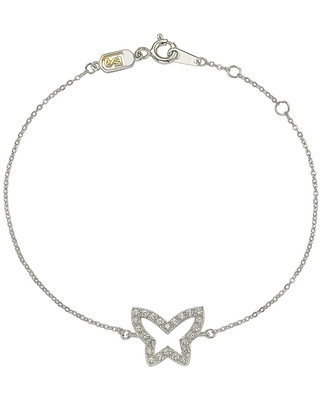 Suzy Levian 14K White Gold & .30 cttw Diamond Butterfly Solitaire Bracelet (White - 7 Inch)